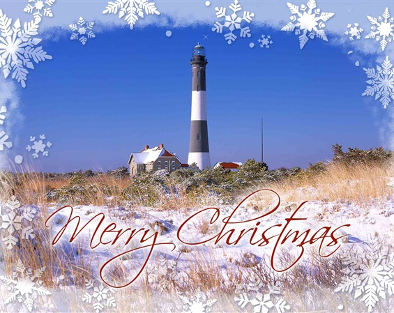 Fire Island Lighthouse Christmas Cards  #1